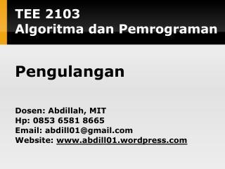 TE E  2 103 Algoritma dan Pemrograman