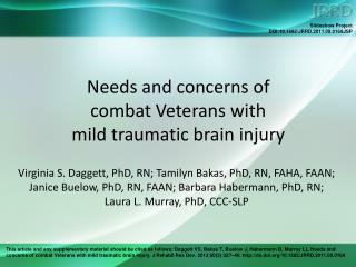 Needs and concerns of  combat Veterans with  mild traumatic brain injury