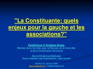 """""""La Constituante: quels enjeux pour la gauche et les associations?"""""""