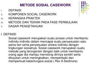 METODE SOSIAL CASEWORK