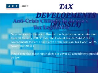 TAX DEVELOPMENTS (RUSSIA)