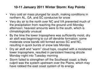 10-11 January 2011 Winter Storm: Key Points