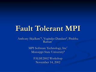 Fault Tolerant MPI