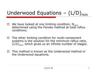 Underwood Equations   L
