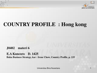 COUNTRY PROFILE  : Hong kong