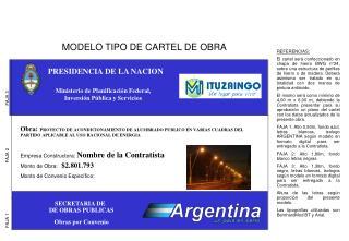 MODELO TIPO DE CARTEL DE OBRA