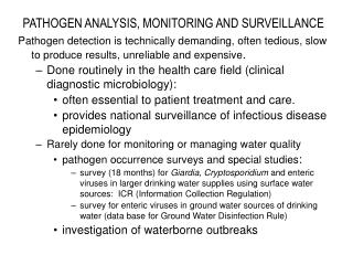 PATHOGEN ANALYSIS, MONITORING AND SURVEILLANCE
