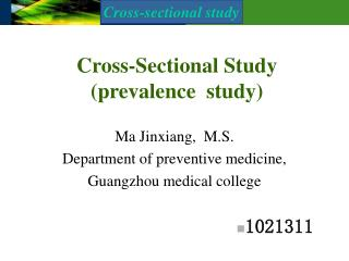 Cross-Sectional Study (prevalence  study)