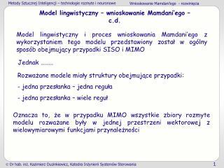 Model lingwistyczny – wnioskowanie Mamdani'ego – c.d.