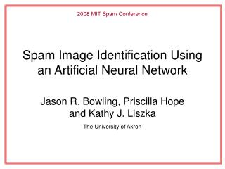 Spam Image Identification Using an Artificial Neural Network