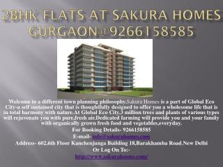 2BHK Flats At Sakura Homes Gurgaon@9266158585