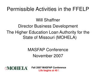 Permissible Activities in the FFELP