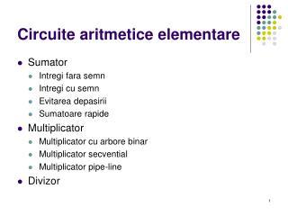Circuite aritmetice elementare
