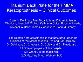 Titanium Back Plate for the PMMA Keratoprosthesis   Clinical Outcomes