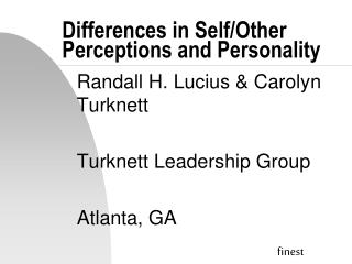 Differences in Self/Other Perceptions and Personality