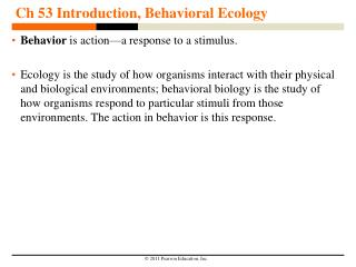 Ch 53 Introduction, Behavioral Ecology