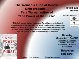 "The Women's Fund of Central Ohio presents… Fara Warner author of  ""The Power of the Purse"""