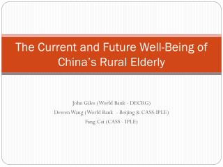 The Current and Future Well-Being of China s Rural Elderly