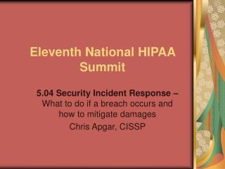 Eleventh National HIPAA Summit