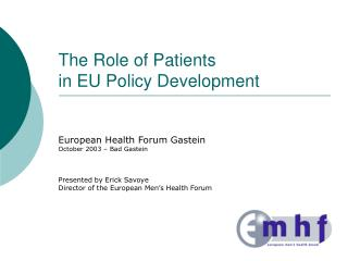 The Role of Patients  in EU Policy Development