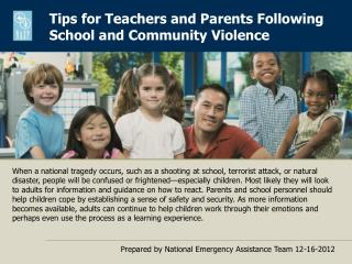 Tips for Teachers and Parents Following School and Community Violence
