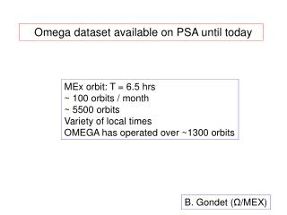 Omega dataset available on PSA until today