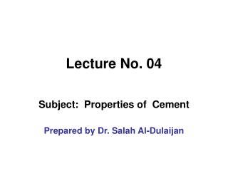 Lecture No. 04