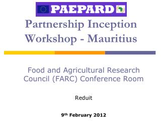 Partnership Inception Workshop - Mauritius