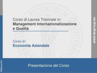 Corso di: Economia Aziendale