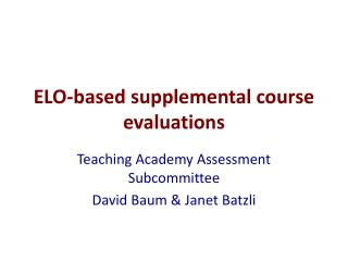 ELO-based supplemental course evaluations