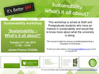 Sustainability What's it all about?