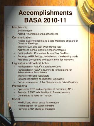 Accomplishments BASA 2010-11