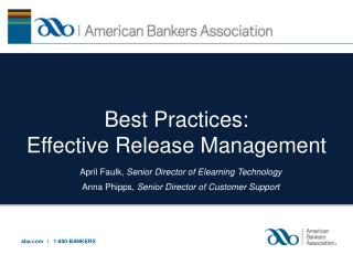 Best Practices: Effective Release Management