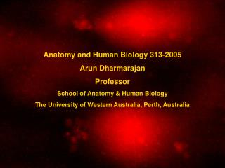 Anatomy and Human Biology 313-2005 Arun Dharmarajan Professor School of Anatomy & Human Biology