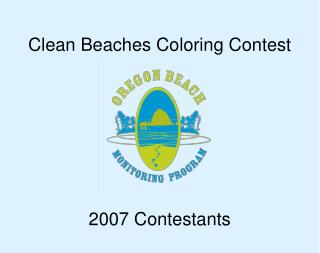 Clean Beaches Coloring Contest 2007 Contestants