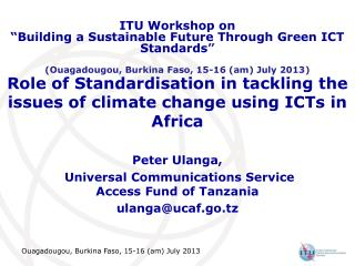 Role of Standardisation in tackling the issues of climate change using ICTs in Africa