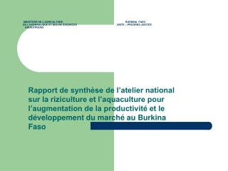 Rappel des objectifs de l'atelier régional                      (20-24octobre 2008 )