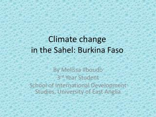 Climate change in the Sahel: Burkina Faso