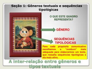 A  inter-relação entre gêneros e tipos  textuais