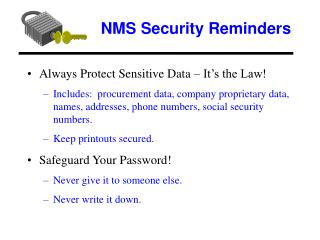 NMS Security Reminders