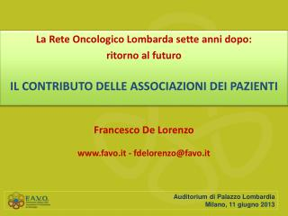 Francesco De Lorenzo favo.it - fdelorenzo@favo.it