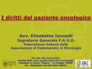 I diritti del paziente oncologico