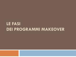 Le FASI  dei Programmi Makeover