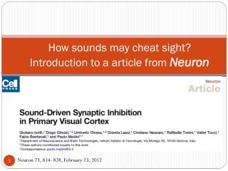 How sounds may cheat sight? Introduction to a article from  Neuron