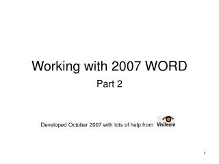 Working with 2007 WORD