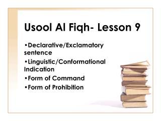 Usool Al Fiqh- Lesson 9