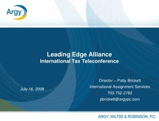 Leading Edge Alliance International Tax Teleconference