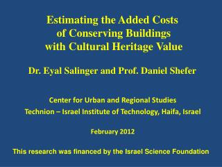 Center for Urban and Regional Studies Technion – Israel Institute of Technology, Haifa, Israel