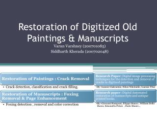 Restoration of Digitized Old Paintings & Manuscripts