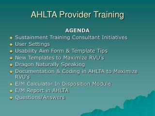 AHLTA Provider Training
